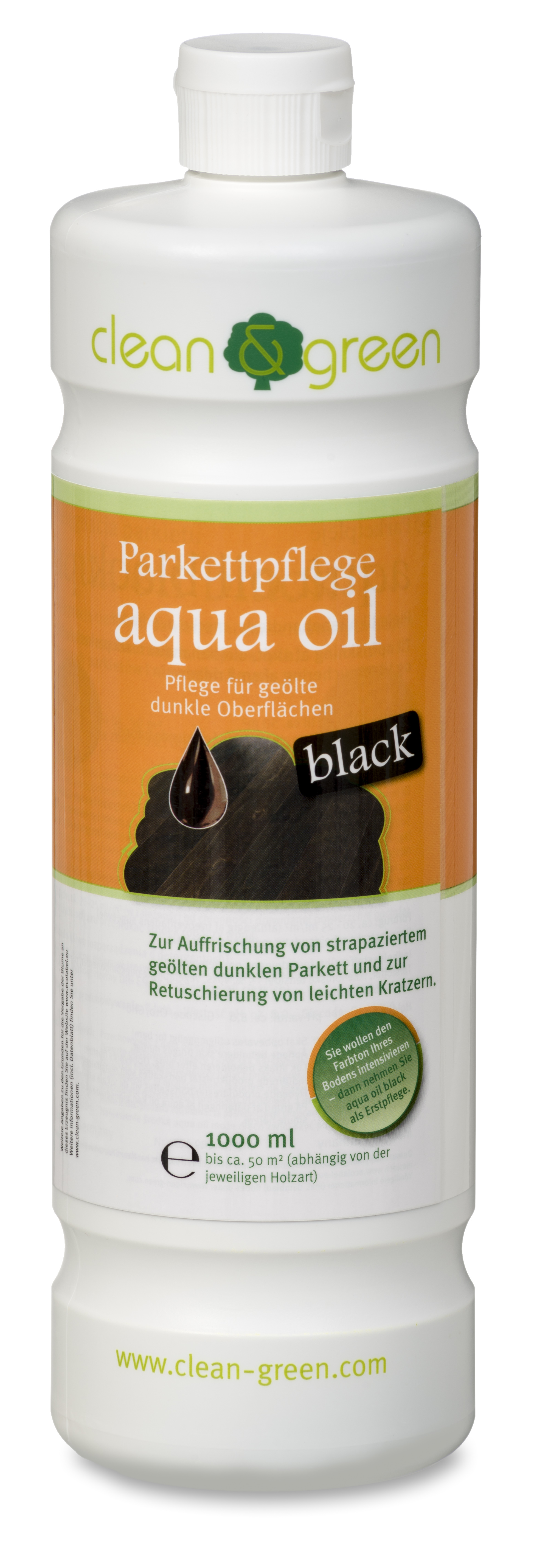 spezial parkettpflege aqua oil black f r ge lte schwarze oberfl chen clean green. Black Bedroom Furniture Sets. Home Design Ideas